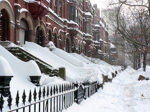 snowy sidewalks in New York City